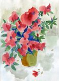 Akwarela obrazu lata czerwieni kwiaty zdjęcie royalty free