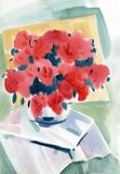 Akwarela obrazu lata czerwieni kwiaty obraz stock