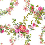 Akwarela obrazu liść i kwiaty, bezszwowy wzór na białym backgroun Zdjęcia Royalty Free