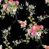 Akwarela obrazu liść i kwiaty, bezszwowy wzór na ciemnym tle Obrazy Stock