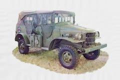 Akwarela obrazu maszyna 2nd wojna światowa royalty ilustracja