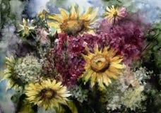 Akwarela obrazu obrazka rysunek bukietów kwiaty Ilustracja Wektor