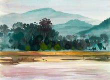Akwarela obrazu oryginału krajobraz kolorowy drzewa łąkowi royalty ilustracja