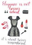 Akwarela odziewa dla specjalnej okazi składać się z piękna kropkowana suknia, czerwone szpilki, czarna sprzęgłowa torba i jewelle ilustracja wektor