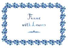Akwarela opuszcza wektorową błękit ramę z ręcznie pisany kursywnym tekstem Fotografia Stock