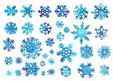 Akwarela płatka śniegu set Royalty Ilustracja