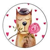 Akwarela pies i wzrastał Obraz Royalty Free