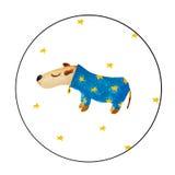 Akwarela pies jest ubranym błękitnej gwiazdy żakiet Zdjęcia Stock