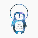 Akwarela pingwin w kosmos sylwetce Obrazy Stock