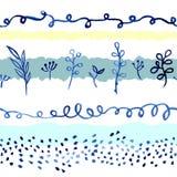 Akwarela pociągany ręcznie bezszwowy wzór - błękitów ziele z horyzontalnymi dekoracyjnymi elementami i kwiaty obraz stock