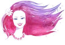 Akwarela portret kobieta Zdjęcia Royalty Free