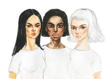 Akwarela portret różnorodność kobiety ilustracja wektor