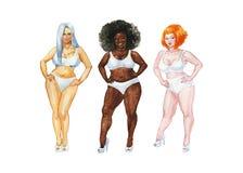 Akwarela portret różnorodność kobiety royalty ilustracja
