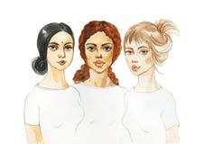 Akwarela portret różnorodność kobiety ilustracji