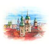 Akwarela Praga, republika czech ilustracja wektor