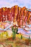 Akwarela przesądu gór pustkowia teren Phoenix Arizona zdjęcia stock