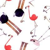 Akwarela ptaka set Flaming, struś, bocianowa ręka malował ilustrację royalty ilustracja