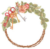 Akwarela różany wianek z kluczami, parapetówa royalty ilustracja