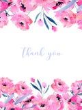 Akwarela różowi maczki karciany szablon i kwieciste gałąź, ręka rysująca na białym tle Zdjęcie Royalty Free