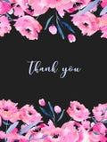 Akwarela różowi maczki karciany szablon i kwieciste gałąź, ręka rysująca na ciemnym tle Obraz Royalty Free