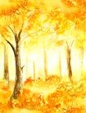 Akwarela ręka malujący żółta jesień powalać liście ilustracji
