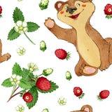 Akwarela ręka rysujący bezszwowy wzór jagody i śliczny charakter Obraz Royalty Free
