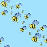 Akwarela ręka rysujący bezszwowy wzór z pszczołami royalty ilustracja