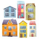 Akwarela ręka rysujący domy Zdjęcia Royalty Free