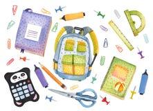 Akwarela ręka rysujący set szkolne rzeczy szkoła z tylnej ilustracja wektor
