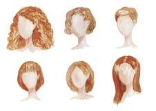 Akwarela ręka rysujący set z różnymi typami żeńskie fryzury dla długiego, kędzierzawe, chort włosy Kobiety brązu ostrzyżenia ilus ilustracji