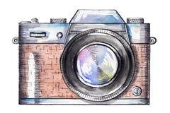 Akwarela rocznika kamera ilustracja wektor