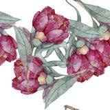 Akwarela rocznika kwiatu bezszwowy wzór Obrazy Royalty Free