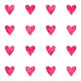 Akwarela rocznika menchii czerwonych wektorowych serc bezszwowy wzór Zdjęcia Stock
