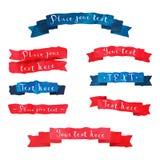 Akwarela rocznika ręka rysujący wektorowi faborki ustawiający z ręka pisać tekstem w błękitnych i czerwonych kolorach Fotografia Royalty Free