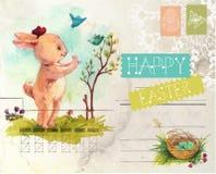 Akwarela rocznika stylu Wielkanocna karta Obrazy Stock