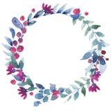 Akwarela rocznika wianek z jagodami, Wildflowers, zieleń liście ilustracja wektor