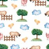 Akwarela rolny bezszwowy wz?r R?ka rysuj?cy przedmioty: cakle, ogrodzenie, trawa, drzewo, kurczak, ?winia, chmura sporz?dzi? t?a  royalty ilustracja