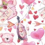 Akwarela romantyczny bezszwowy wzór dla walentynka dnia z misiami, butelką wino, listem, balonami i sercami, royalty ilustracja