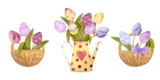 Akwarela rysujący set z elementami szczęśliwy Easter Kwiaty, jajka, wszystko odosobneni na białym tle obraz royalty free