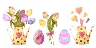 Akwarela rysujący set z elementami szczęśliwy Easter Kwiaty, jajka, wszystko odosobneni na białym tle ilustracja wektor