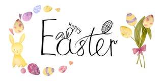 Akwarela rysujący set z elementami szczęśliwy Easter Ręka rysujący literowanie, królik, jajka Ideał dla kartki z pozdrowieniami l ilustracja wektor