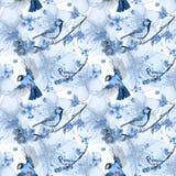 Akwarela rysuje bezszwowego wzór na temacie wiosna, upał, ilustracja ptak oddział wojskowy kształtujący wielcy tits Zdjęcie Royalty Free