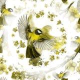 Akwarela rysuje bezszwowego wzór na temacie wiosna, upał, ilustracja ptak oddział wojskowy kształtujący wielcy tits Zdjęcia Royalty Free
