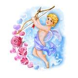 Akwarela rysunek amorek, miłość anioł z skrzydłami w niebie Świątobliwy walentynka dnia kartka z pozdrowieniami projekt twój teks ilustracja wektor