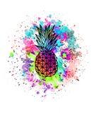 Akwarela rysunek ananas z kolorowymi pluśnięciami farba ilustracja wektor