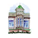 Akwarela rysunek drewniany budynek z kopułą i iglicą royalty ilustracja