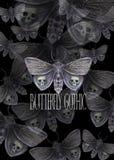 Akwarela rysunek motyli noc motyl, okropny motyl na Halloweenowym wakacje z czaszką na swój skrzydłach i kości, Zdjęcie Stock
