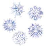 akwarela rysunek płatki śniegu, set 6 płatków śniegu, purpura na bielu royalty ilustracja