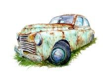 Akwarela rysunek stary ośniedziały samochód royalty ilustracja