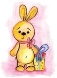 Akwarela rysunku zabawki królik z prezentem Fotografia Stock